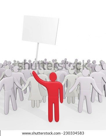 Man with poster stands before crowd of people. Concept of demands and protest - stock photo