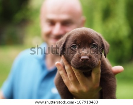 Man with puppy - stock photo