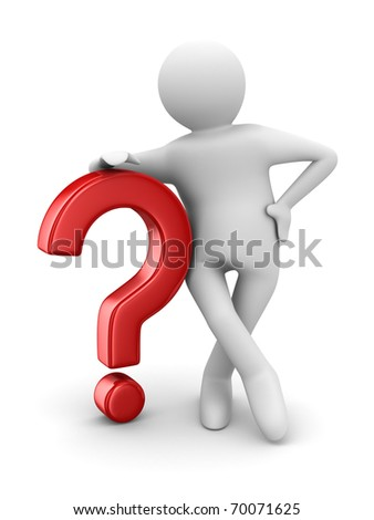 man with question on white. Isolated 3D image - stock photo