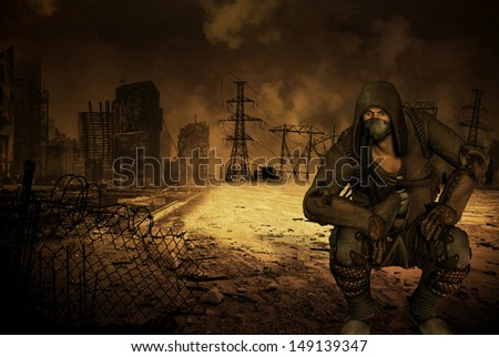 Man with respirator in an apocalyptic scenario - stock photo
