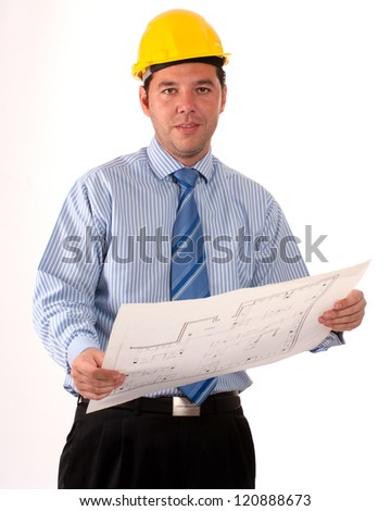 Man with safety helmet holding a roll of blueprints - stock photo