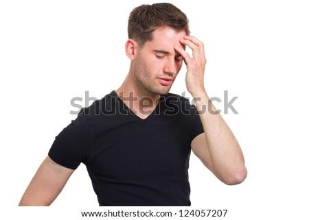 Man with severe headache - stock photo