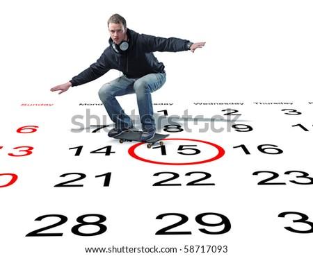 man with skateboard on 3d calendar - stock photo
