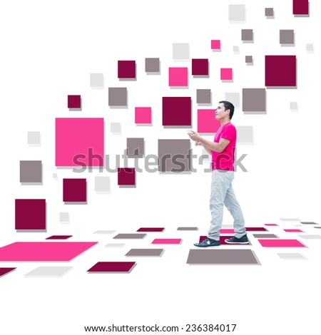 Man With Smart Phones On Colorful Rectangles Design - stock photo