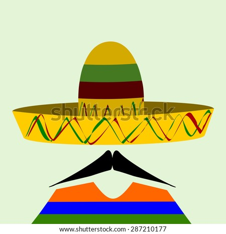 man with sombrero and a sharp waxed mustache - stock photo