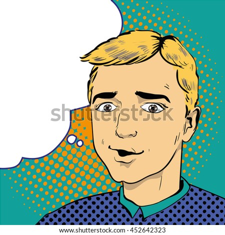Man with speech bubble. Illustration in comics retro pop art style. - stock photo
