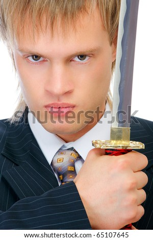 Man with sword protects business, isolated on white background. - stock photo