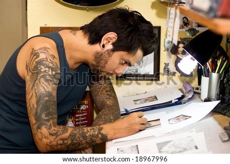 man with tattoo - stock photo