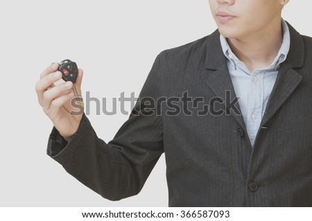 Man with the keys car.Isolated on white background. - stock photo