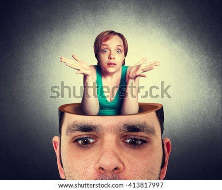 man with the open head and crazy woman - stock photo