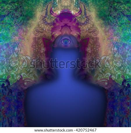 man with third eye, psychic supernatural senses - stock photo