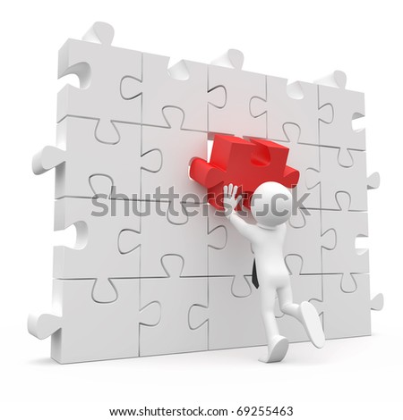 Man with tie, putting on a wall a red piece missing - stock photo