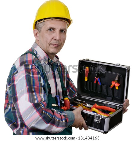 man with tool box isolated on white background - stock photo