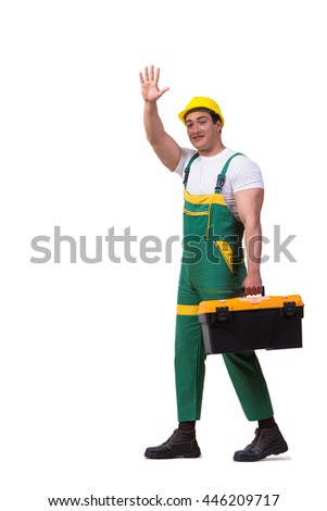 Man with toolbox isolated on the white background - stock photo