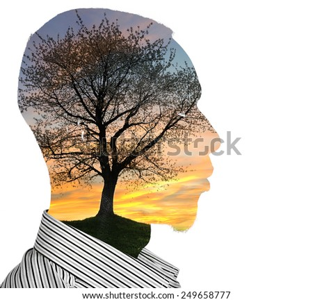 Man with tree and sky concept - stock photo