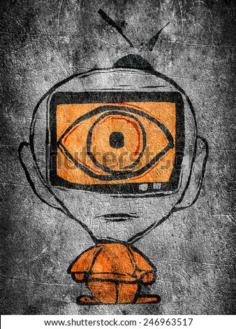 man with tv in his head illustration - stock photo