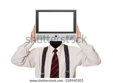 Man with tv screen for head isolated on white background - stock photo