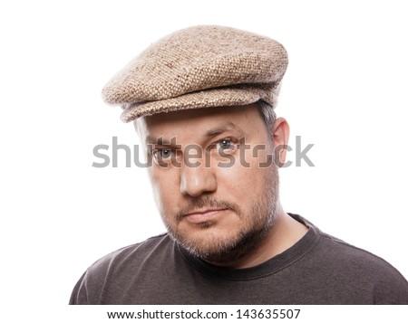 man with tweed cap - stock photo