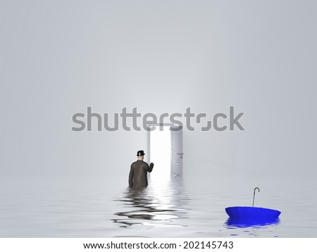 Man with umbrella in pure white room with open door - stock photo