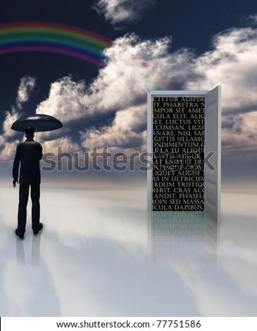 man with umbrella stands before doorway of text - stock photo