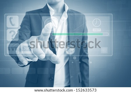 Man With Virtual Screen Interface,Dramatic Look - stock photo