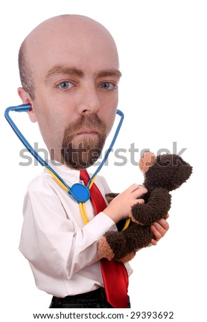 Man with white shirt, stethoscope and red tie giving a teddy bear a checkup - stock photo