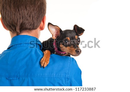 Man with young pincher (isolated on white) - stock photo