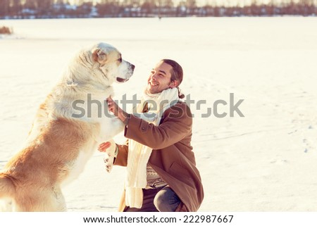 man with your dog  - stock photo