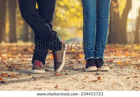 man woman leg couple  love feelings - stock photo