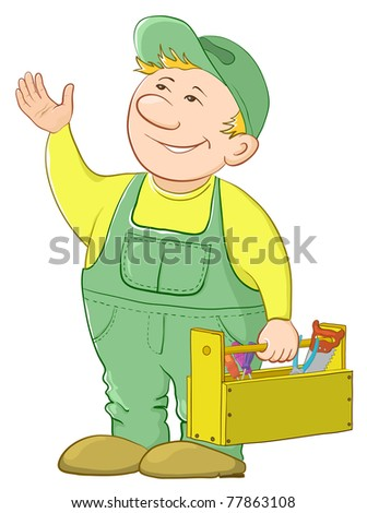 Man worker in a cap and a uniform with a toolbox, - stock photo