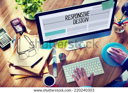 Man Working on a Responsive Web Design - stock photo