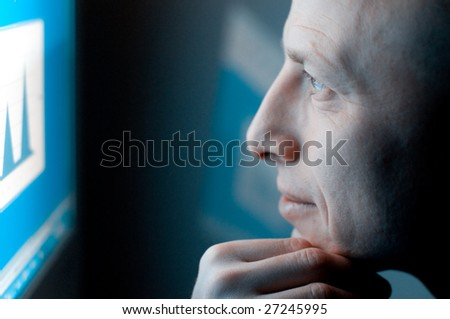 man working on computer - stock photo