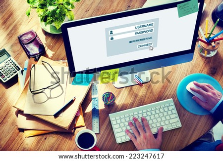 Man Working on Computer with Accessibility Concept - stock photo