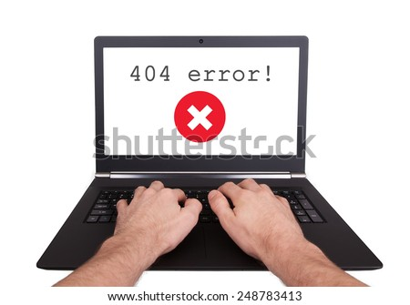 Man working on laptop, 404 error, isolated - stock photo