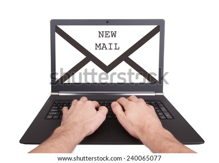 Man working on laptop, new message, isolated - stock photo