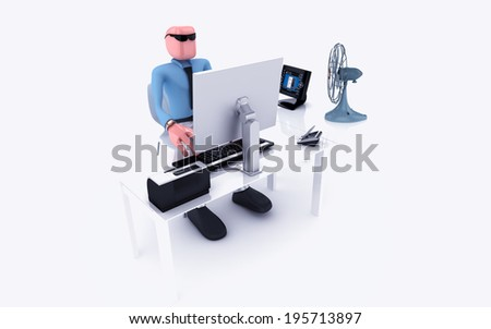 man working on pc - stock photo