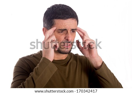 man worried and thinking wearing a brown shirt on a white background - stock photo