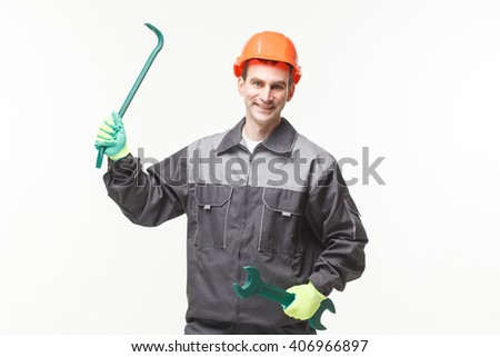 Man Wrench Over White Background posing builder  - stock photo