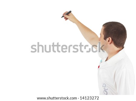 man writes - stock photo