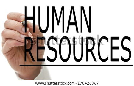 Man writing Human Resources on a virtual screen with a marker pen conceptual of employment, recruitment and manpower - stock photo