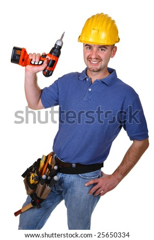 man young caucasian worker with drill isolated on white - stock photo