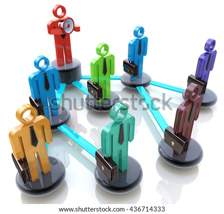 Manage a team - Business hierarchy or network of people in the design of the information related to the management. 3d illustration - stock photo