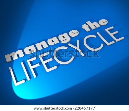 Manage the Lifecycle 3d words on blue background to illustrate need to oversee development and processing of sales leads, communication or assets - stock photo