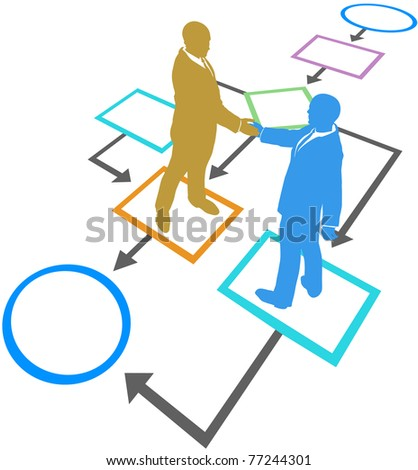 Management business people silhouettes handshake agreement in flowchart process - stock photo
