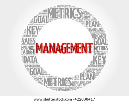 Management circle word cloud, business concept background - stock photo