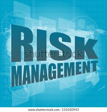 Management concept: words Risk management on digital screen, raster - stock photo