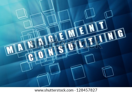 management consulting - text in 3d blue glass cubes with white letters, business concept - stock photo