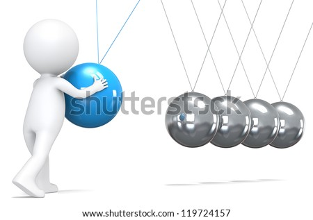 Management. 3D little human character pushing a Blue ball in pendulum. People series. - stock photo