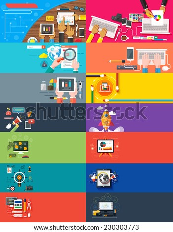 Management digital marketing srartup planning analytics creative team design pay per click seo social media analysis actions development launch. Banners for websites flar design style. Raster version - stock photo