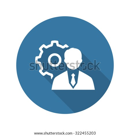 Management Icon. Business Concept. Flat Design. Isolated Illustration. Long Shadow. - stock photo
